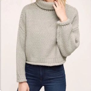 Anthro Moon River Turtleneck Cropped Sweater